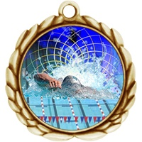 "2-1/2"" Wreath Color Insert Swimming Medal O32A-FCL-560"