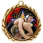 "2-1/2"" Wreath Color Insert Wrestling Medal O32A-FCL-576"