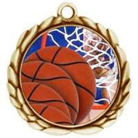 "2-1/2"" Wreath Color Insert Basketball Medal O32A-FCL-8"