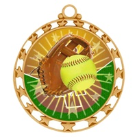 "2-1/2"" Superstar Color Insert Softball Medal O34A-FCL-138"