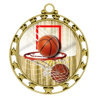 "2-1/2"" Superstar Color Insert Basketball Medal O34A-FCL-411"