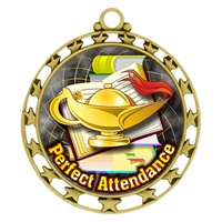 "2-1/2"" Superstar Color Insert Perfect Attendance Medal O34A-FCL-422"