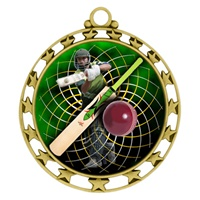 "2-1/2"" Superstar Color Insert Cricket Medal O34A-FCL-444"