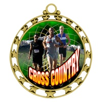 "2-1/2"" Superstar Color Insert Male X-Country Medal O34A-FCL-447"