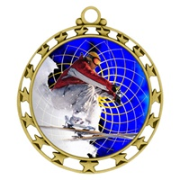 "2-1/2"" Superstar Color Insert Snow Skiing Medal O34A-FCL-460"