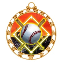 "2-1/2"" Superstar Color Insert Baseball Diamond Medal O34A-FCL-5"