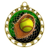 "2-1/2"" Superstar Color Insert Softball Medal O34A-FCL-546"