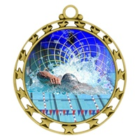 "2-1/2"" Superstar Color Insert Swimming Medal O34A-FCL-560"