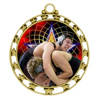 "2-1/2"" Superstar Color Insert Wrestling Medal O34A-FCL-577"