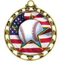 "2-1/2"" Superstar Flag Baseball Medal O34A-FCL-700"