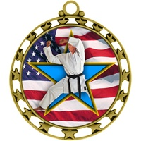 "2-1/2"" Superstar Flag Karate Medal O34A-FCL-722"