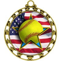 "2-1/2"" Superstar Flag Softball Medal O34A-FCL-727"
