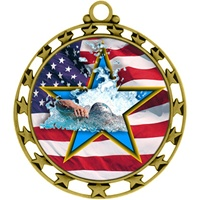 "2-1/2"" Superstar Flag Swimming Medal O34A-FCL-728"
