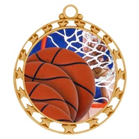"2-1/2"" Superstar Color Insert Basketball Medal O34A-FCL-8"