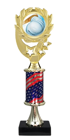 "12"" Flag Pedestal Wreath Full Color Softball Trophy"