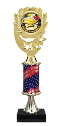 "12"" Flag Pedestal Wreath Full Color Perfect Attendance Trophy"