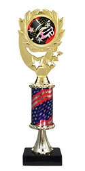 "12"" Flag Pedestal Wreath Full Color Dance Trophy"