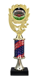 "12"" Flag Pedestal Wreath Full Color Fantasy Football Trophy"