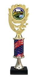 "12"" Flag Pedestal Wreath Full Color Hole In One Trophy"