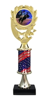 "12"" Flag Pedestal Wreath Full Color Rodeo Trophy"