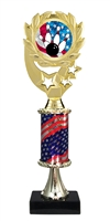 "12"" Flag Pedestal Wreath USA Bowling Trophy"