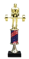 Pedestal Round Flag Column Weight Lifter Trophy