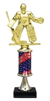 Pedestal Round Flag Column Female Hockey Goalie Trophy