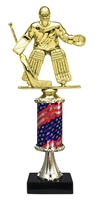Pedestal Round Flag Column Male Hockey Goalie Trophy