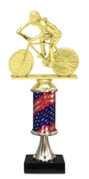 Pedestal Round Flag Column Female Cycling Trophy