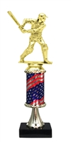Pedestal Round Flag Column Male Cricket Trophy