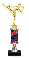 Pedestal Round Flag Column Male Kickbox Trophy