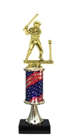 Pedestal Round Flag Column Girl T-Ball Trophy
