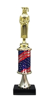 Pedestal Round Flag Column Female Graduate Trophy