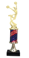 Pedestal Round Flag Column Female Cheerleading Trophy