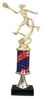 Pedestal Round Flag Column Female Tennis Trophy