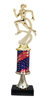 Pedestal Round Flag Column Female Track Trophy