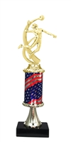 Pedestal Round Flag Column Female Volleyball Trophy