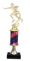 Pedestal Round Flag Column Female Flag Football Trophy