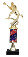 Pedestal Round Flag Column Male Lacrosse Trophy