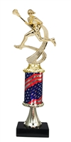 Pedestal Round Flag Column Female Lacrosse Trophy