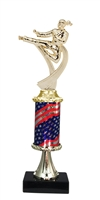Pedestal Round Flag Column Female Karate Trophy