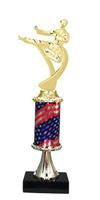 Pedestal Round Flag Column Male Karate Trophy