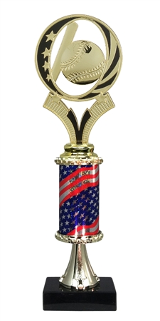 "12"" Flag Column Baseball Trophy"