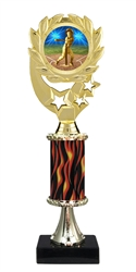 "12"" Flame Pedestal Wreath T Ball Epoxy Dome Trophy"