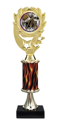 "12"" Flame Pedestal Wreath Burst Dance Trophy"