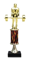 "11""+ Flame Column w/Pedestal Weight Lifter Trophy"