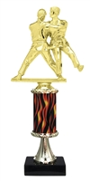 "11""+ Flame Column w/Pedestal Female Judo Trophy"