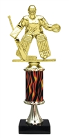 "11""+ Flame Column w/Pedestal Female Hockey Goalie Trophy"