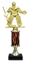 "11""+ Flame Column w/Pedestal Male Hockey Goalie Trophy"