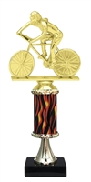 "11""+ Flame Column w/Pedestal Female Cycling Trophy"